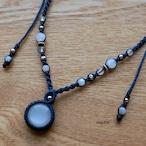 ホワイトムーンストーンのマクラメネックレス - full moon -