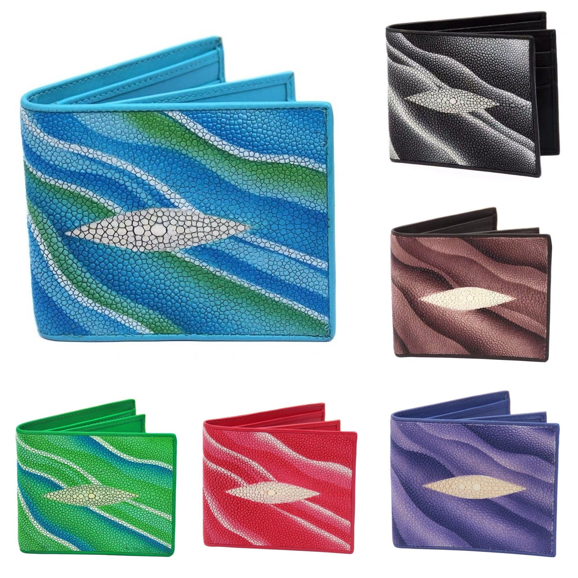 【エイ革財布】ユニセックス 二つ折り財布 カード財布 シックスティングレイ【金運アップ】