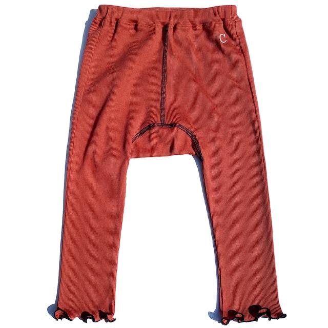 【ベビー服】綿シルクテレコ 配色スパッツ / ブリックレッド / 80~100サイズ