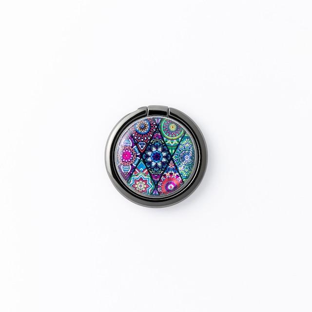 天然貝シェル★ピンクモロッコタイル(スマホリング・バンカーリング)|螺鈿アート|360度回転