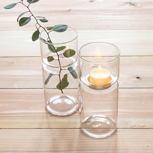 【完売・再入荷なし】シンプルなガラスのフラワーベース&キャンドルホルダーセット(ティーライトキャンドル付)