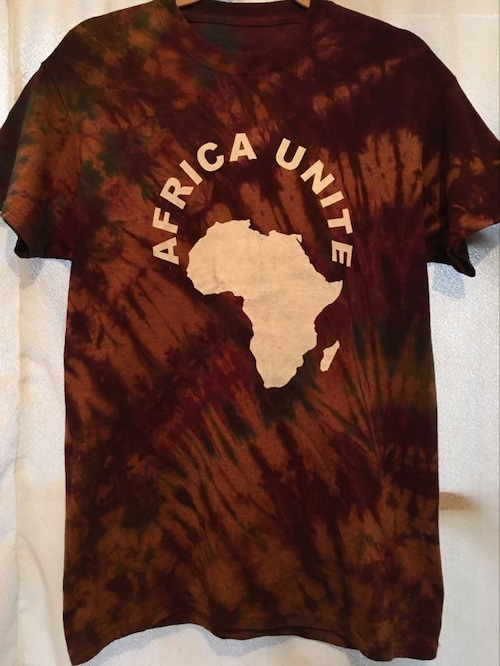 ガーナの手染めTシャツ【M】 AFRICA UNITE-⑯