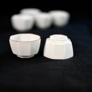 〈再入荷〉【31007】九谷の白 豆ちょく 角八角 (1個) 昭和 / Kutani White Small Cup / Showa Era
