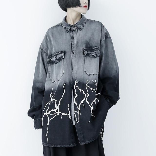 【KEN STUDIOシリーズ】★シャツ★ トップス デニム 個性的 独特なデザイン 男女兼用 メンズ グレー M L XL