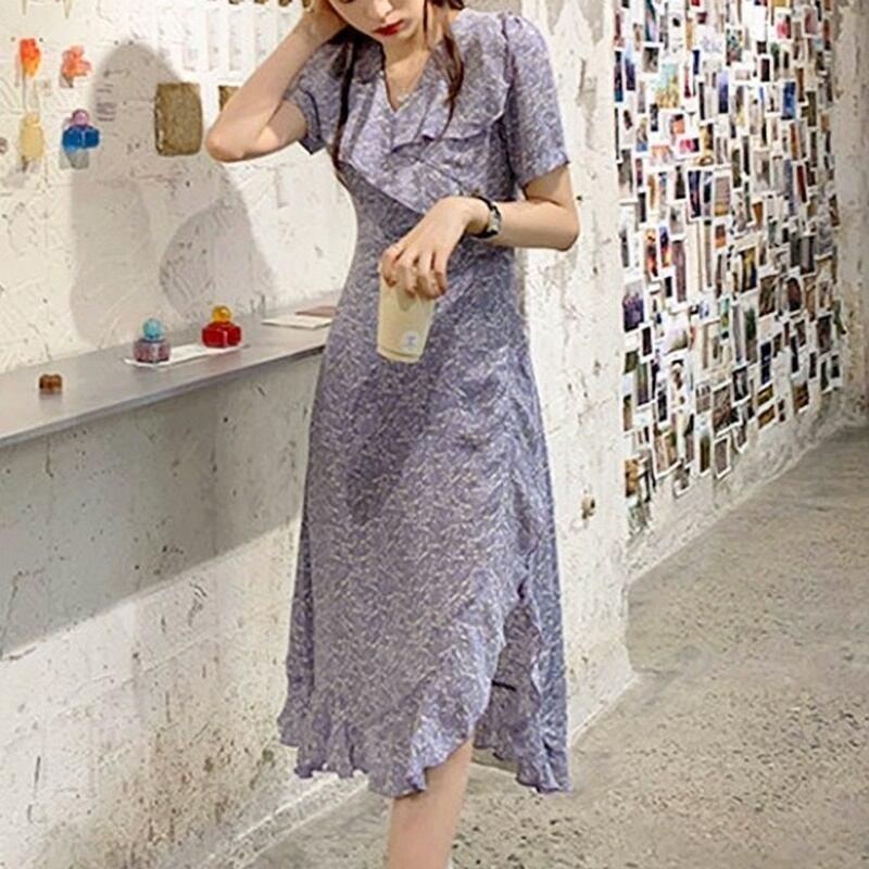 フリルとまあるい裾のスリットがかわいい♡パープルシフォンフリルワンピース♪