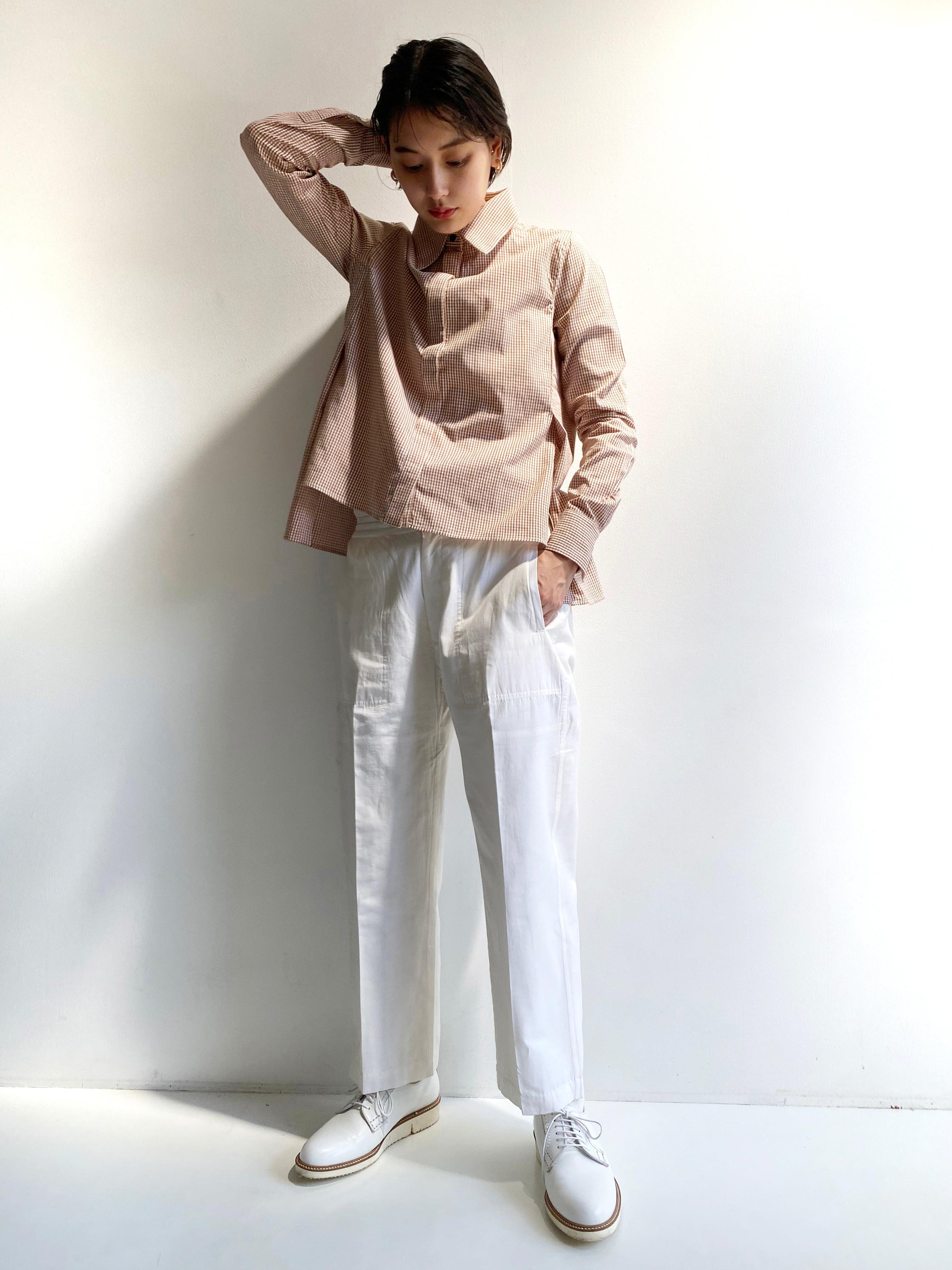 "Side slit blouse ""Brown gingham check"""