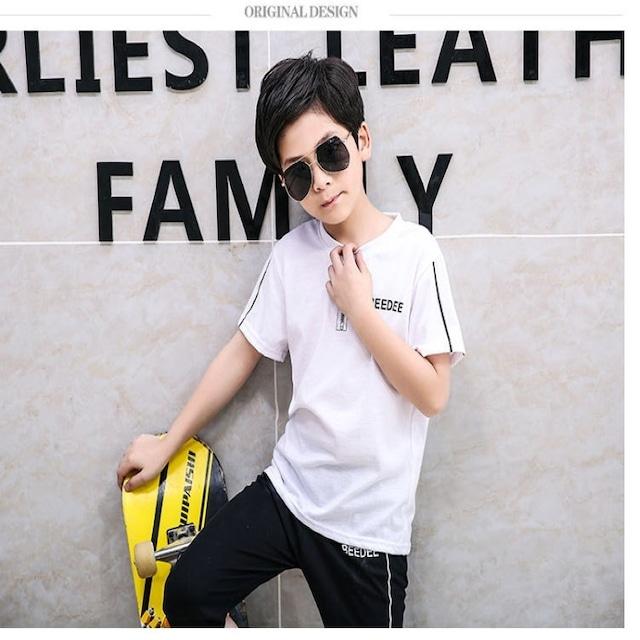 【子供服】男の子 Tシャツ セットアップ 上下 韓国 グリーン 120 130 140 150 160 2色展開