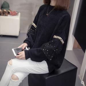 【XL-4XL】レース飾り付きロングセーター(ブラック)