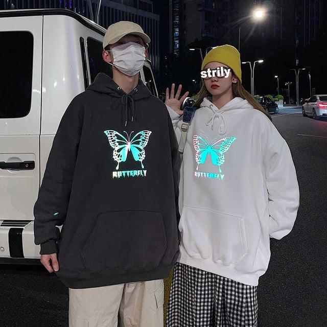 【トップス】ストリートファッションルーズフード付きプリントスパンコールカップルパーカー53743310