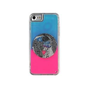 ARTiFY iPhone SE(第2世代)/6/6s/7/8 ネオンサンドケース クリムト キス 円形 ピンク/ブルー AJ00401