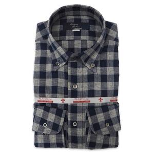 国産ボタンダウンシャツ グレー チェック