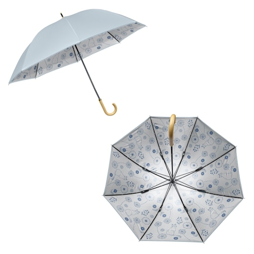 猫傘(晴雨兼用雨傘日傘裏プリント)たんぽぽと猫