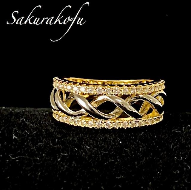 D013 レディース 指輪 ガーネット キュービックジルコニア クロスリボン Cross Ribbon Garnet Ring