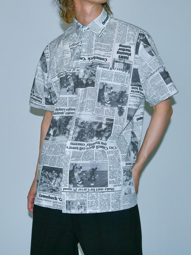 【UNISEX - 1 Size】SHORTSLEEVE NEWSPAPER SHIRT / White