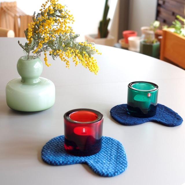 うしじま縫製 | 武州正藍染 トリっぽいコースター 二重刺子