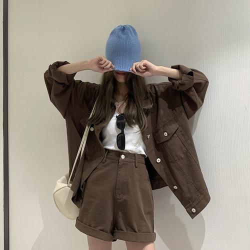 セットアップ デニムジャケット + ショートパンツ カジュアル 韓国ファッション レディース 2点セット ハイウエスト 大人カジュアル 大人可愛い ガーリー DTC-627741138594