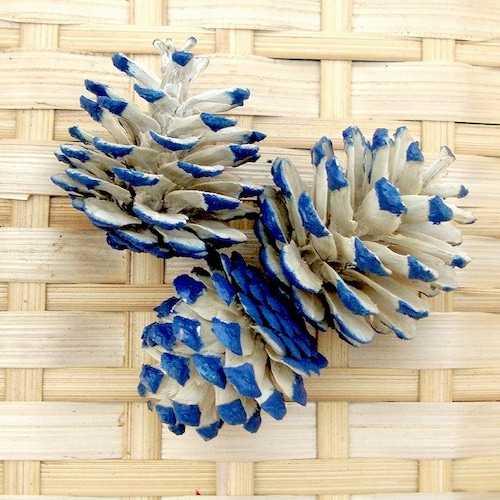 松ぼっくり 脱色/ブルー 3個