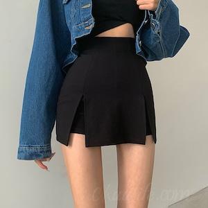 【ボトムス】ファッションハイウエストスリットショートパンツ52317688