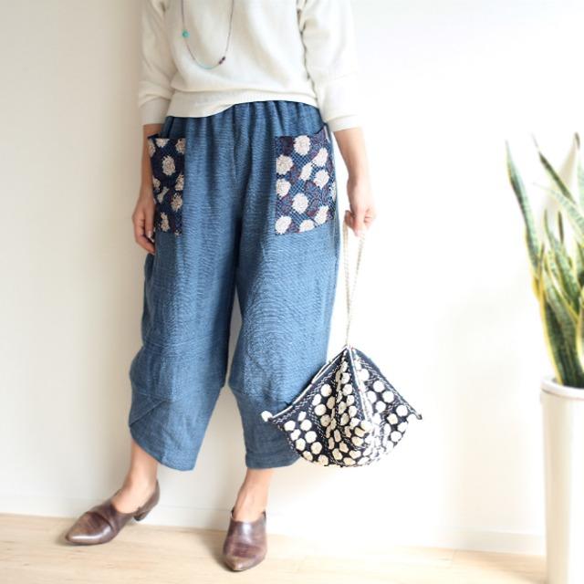 SALE★ブロックプリントポケットの手織り綿パンツ【インディゴブルー】