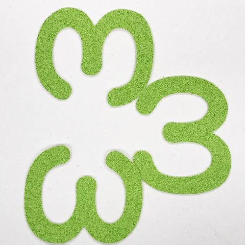 切り文字 A&Cペーパー パルプロックPBR‐006(グリーン) 粘着付 数字「3」
