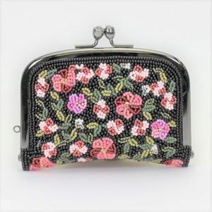 がまぐち財布097黒パープルピンク柄ビーズ刺繍