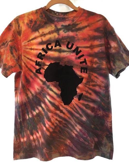ガーナの手染めTシャツ【S】 AFRICA UNITE-⑩