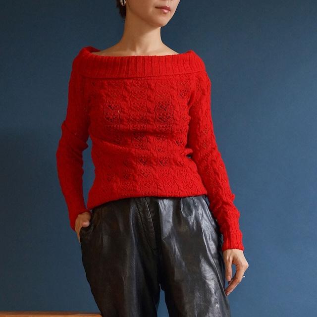 【送料無料】 80's-90's Red Hand Made Off Shoulder Knit