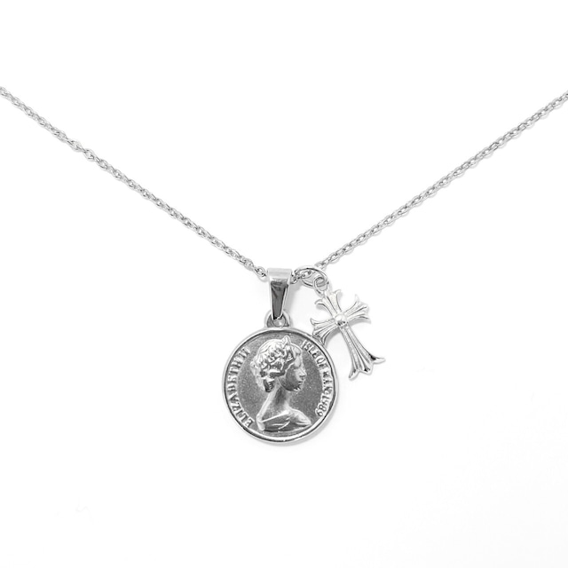 18kgp Coin & Cross Necklace 【SILVER】
