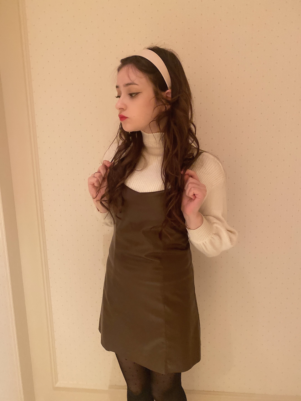 【LAST1】leather cami onepiece