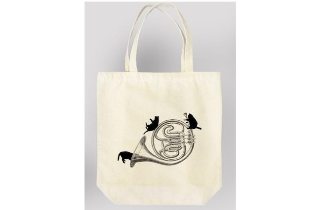 ホルンと黒猫のトートバッグ