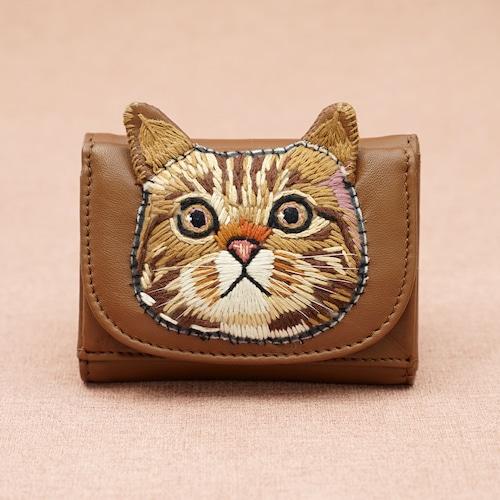 ねこミニ財布 brown cat/CAMEL