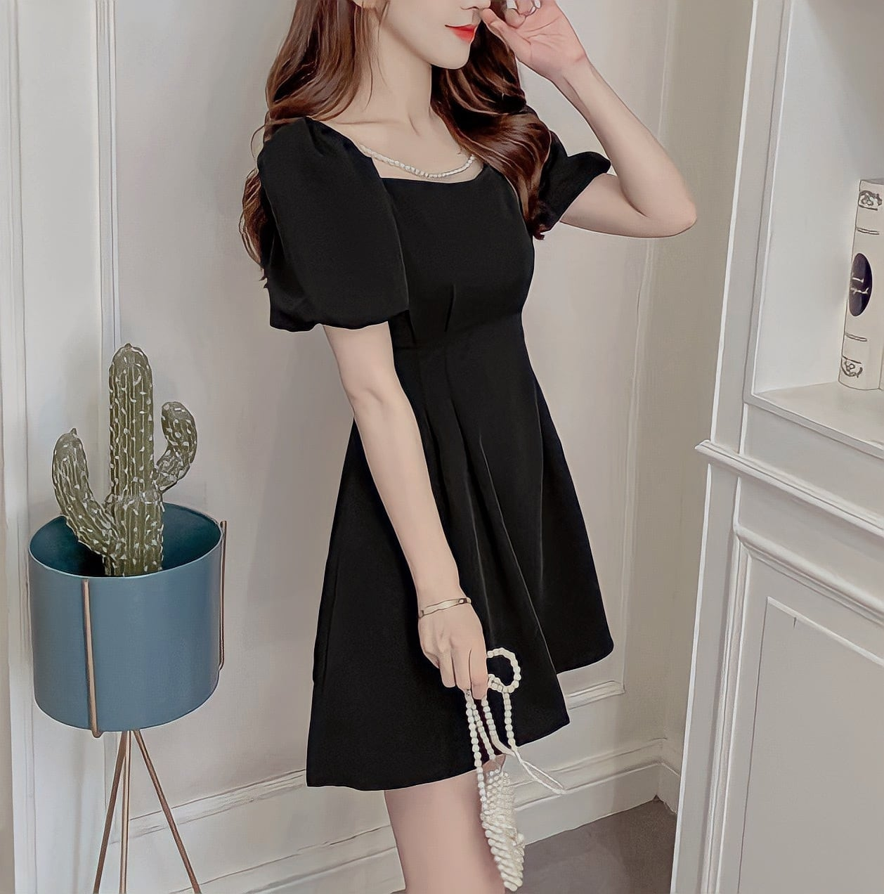 pearl flare dress 5color