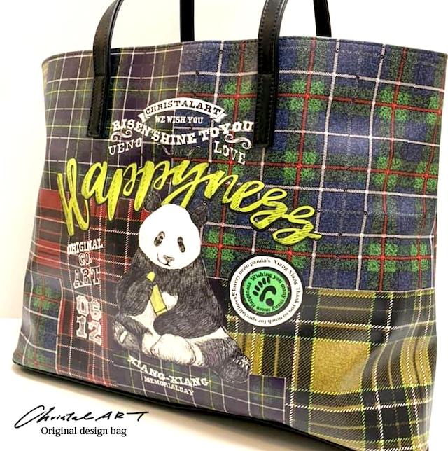 ◆受注生産◆本革レザープリントトートバッグ「レタリングシャンシャン チェック」柄