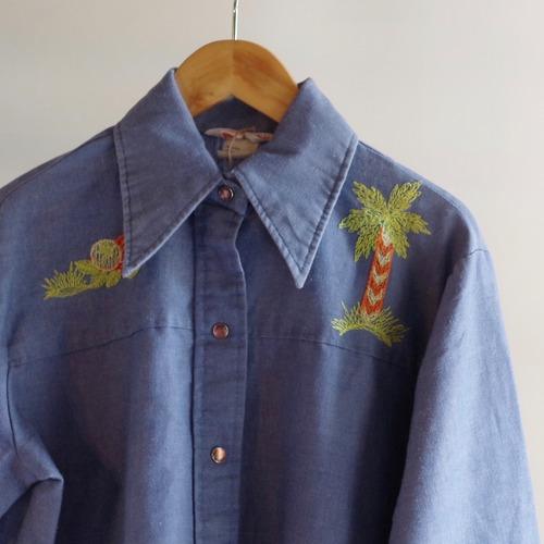 70's Western Style Shirt / ウエスタンスタイル 刺入り ショート丈 シャツ