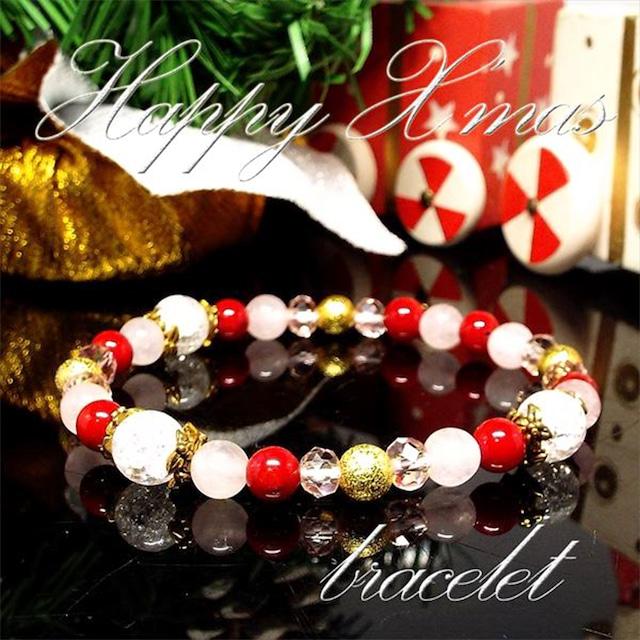 【Happy Xmas♪】天然石 ローズクォーツ&クラック水晶 クリスマスデザインブレスレット(6mm)★