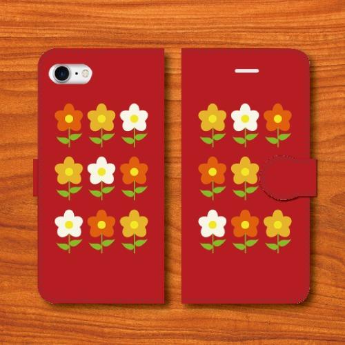 昭和レトロ/花柄/昭和食器調/赤色/iPhoneスマホケース(手帳型ケース)