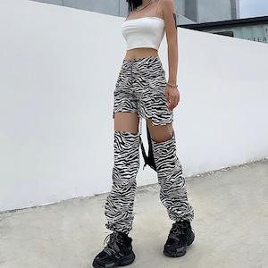【ボトムス】ヒョウ柄切り替えファッションストリート系カジュアルパンツ40322193