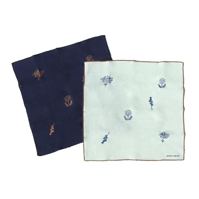 【ネコポス対応】atelier naruse handkerchief 〜monotone flower〜 / アトリエナルセ ハンカチ 〜monotone flower〜