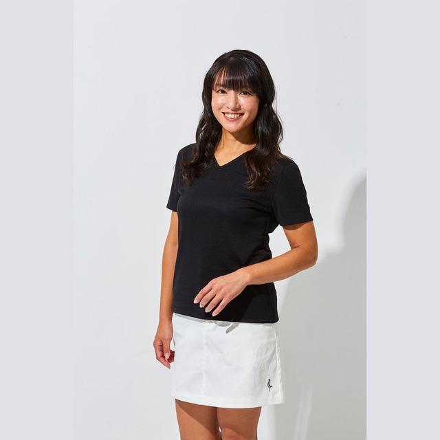 Tee-chi レディースTシャツ <Vネック><BLACK>