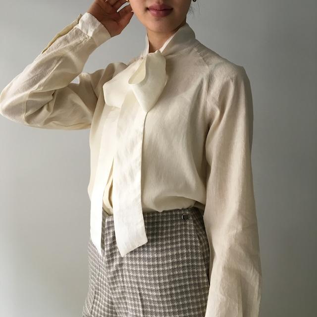 """Raglan Sleeve Bowtie Blouse """"ecru"""" linen & silk"""