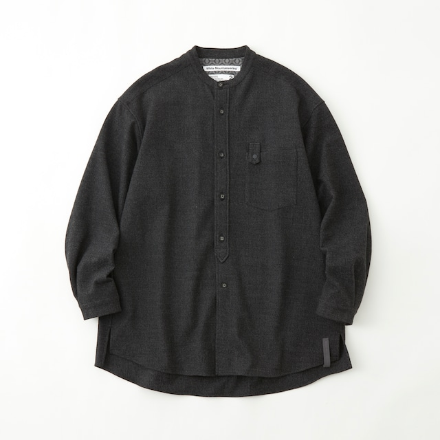 STRETCHED BAND COLLAR SHIRT - CHARCOAL