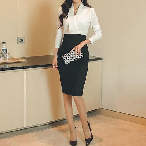 フォーマルだから普段使いにも☆ ビジネス 春夏 女性らしい 綺麗なライン ワンピース ハイウェスト (A934)