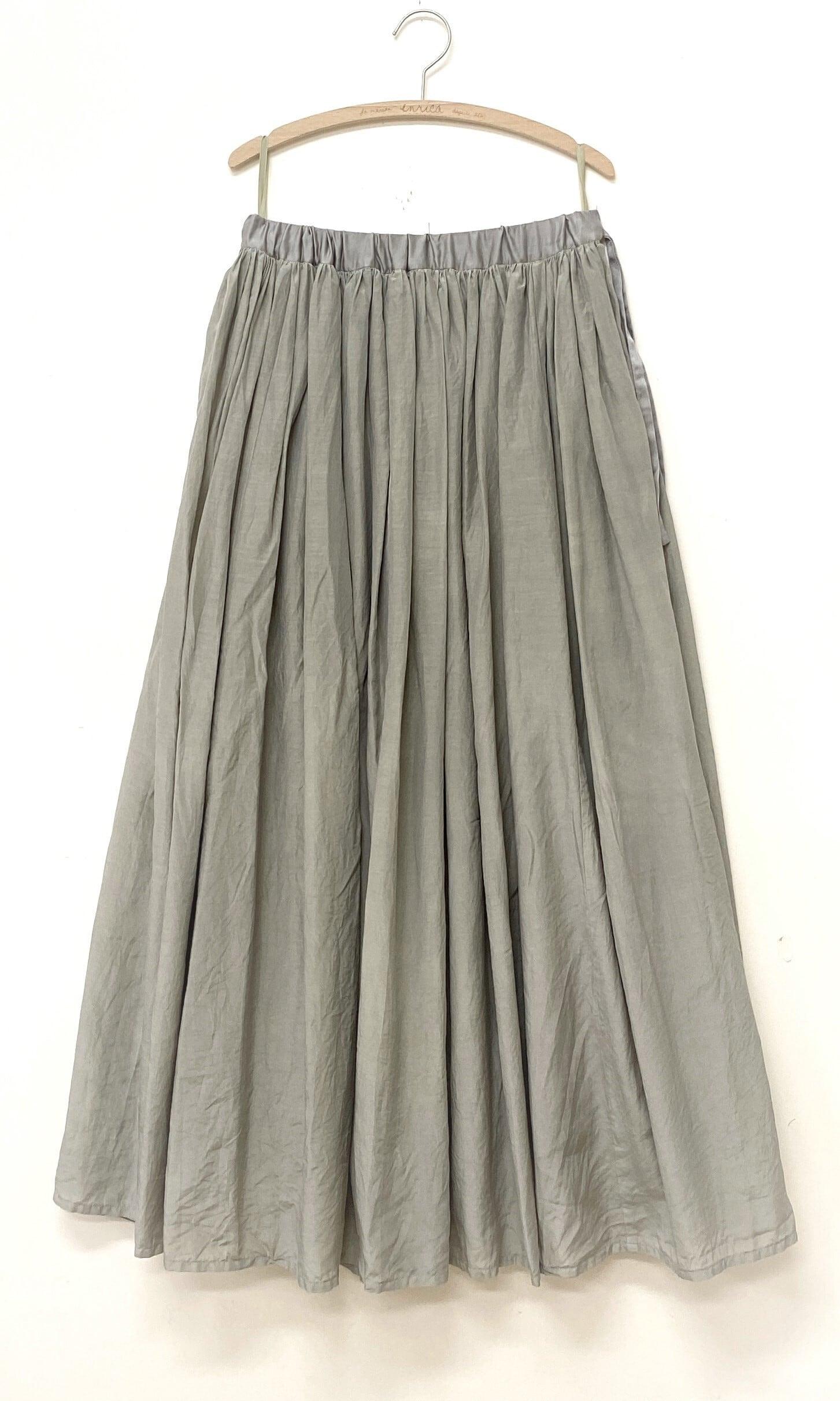 綿シルク素材のギャザースカート FIG-GRAY(イチジク染め)