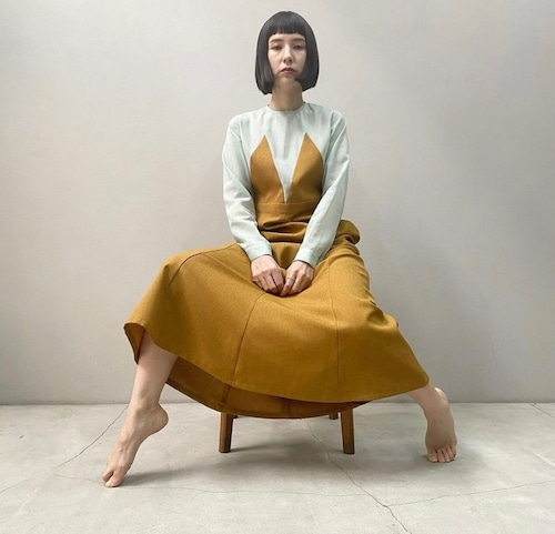 New!!  Gored panel dress / mint×camel (2021 New collection)
