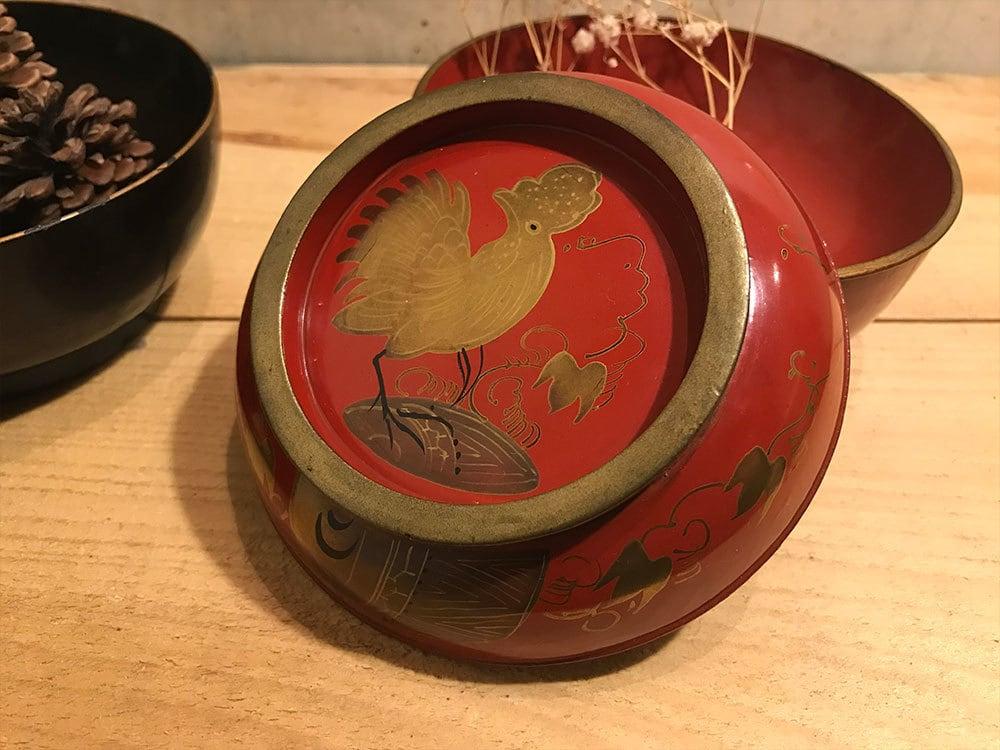 蒔絵の菓子椀 赤(010)