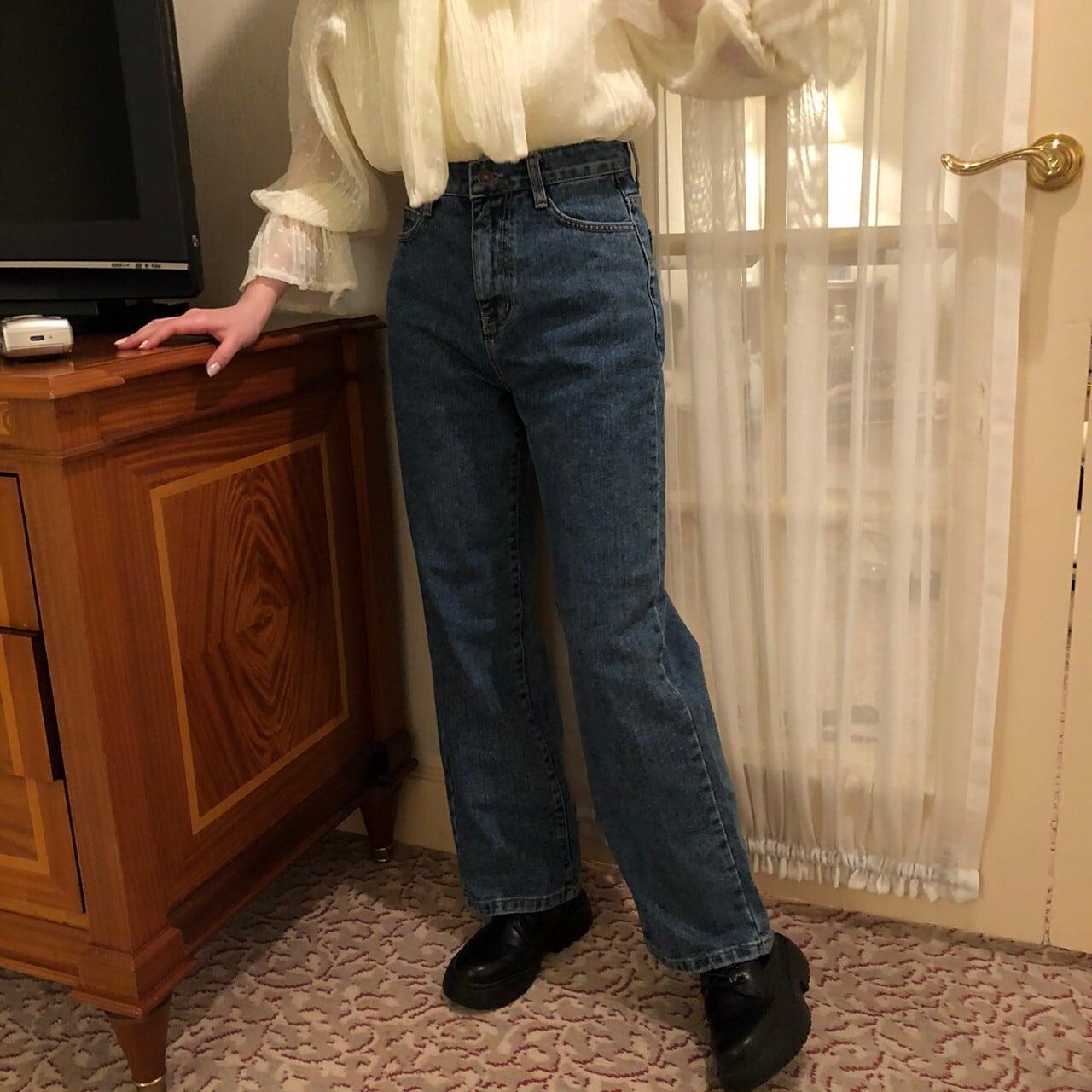 Indigo straight denim pants