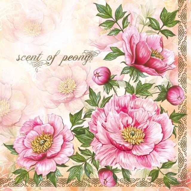 【Maki】バラ売り2枚 ランチサイズ ペーパーナプキン Scent of Peony ピンク×パールゴールド
