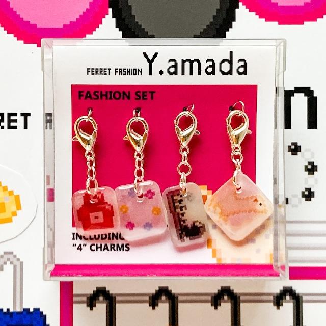 プラバン ファッション ドット絵 Y.amada チャーム 4点セット
