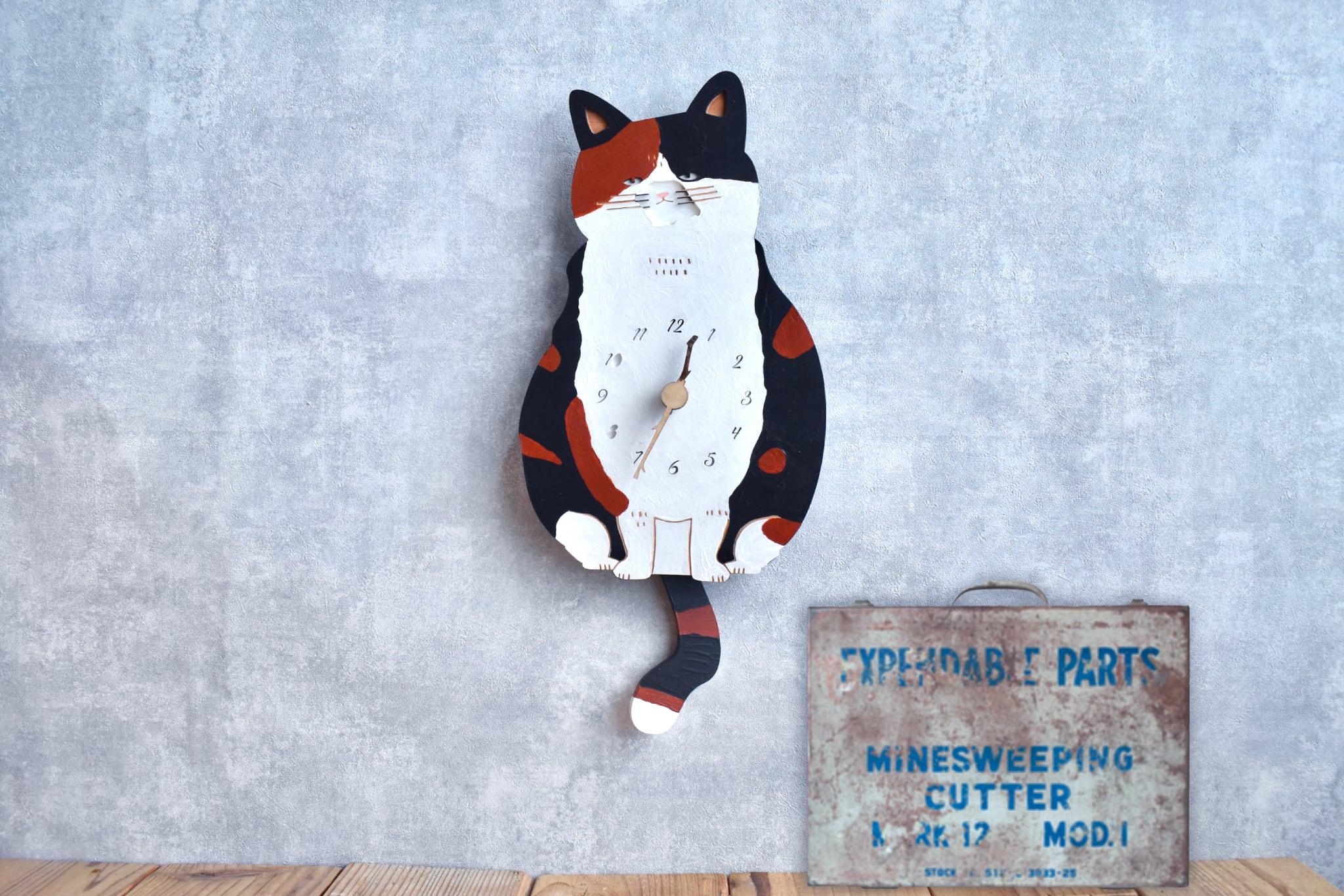 三毛猫*ショートの時計 木製 振り子時計 掛け時計