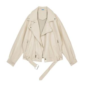 9638レディース 秋 レザージャケット 黒 白 革ジャケット ライダースジャケット 革ジャン